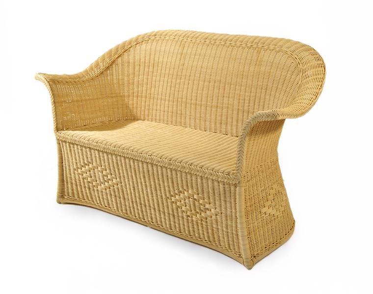 Mobili Midollino E Rattan.Sofa 2 Seats Idra Wicker Ecru Fabric Mobili In Rattan