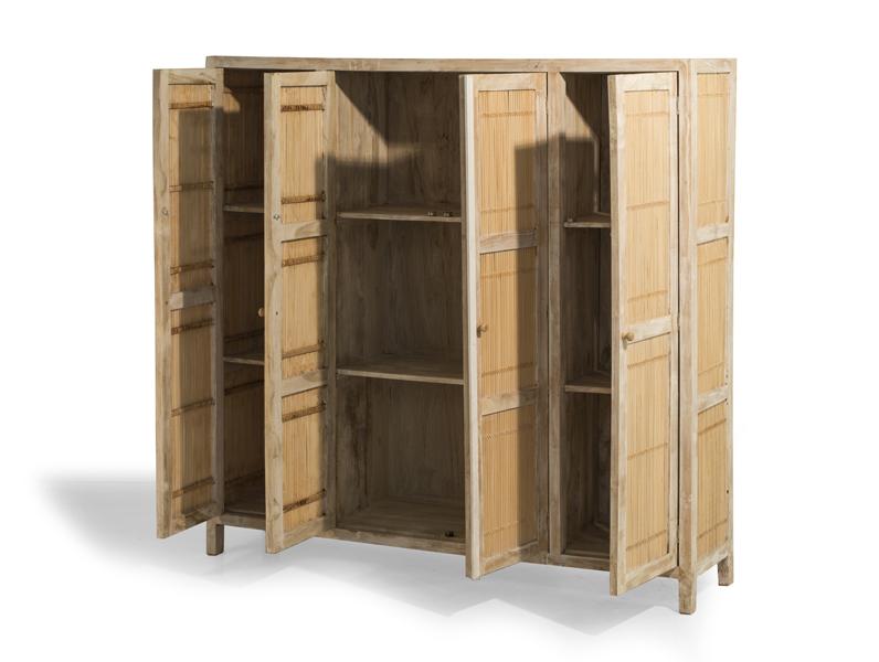 Armadio bamboo teak mobili in rattan produzione e vendita di mobili in rattan naturale e - Mobili in bamboo ...